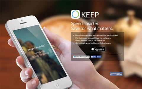 Screenshot of Home Page trykeep.com - Keep | Love how you spend your money. - captured Sept. 23, 2014