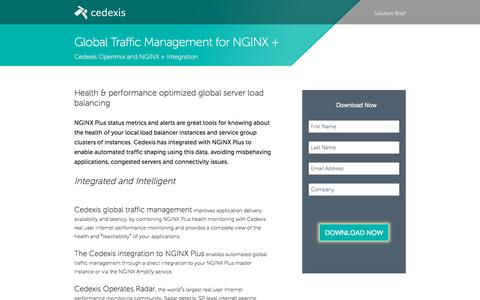 Screenshot of Landing Page cedexis.com - Global Traffic Management for NGINX + - captured Oct. 9, 2017