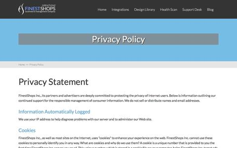 Screenshot of About Page Privacy Page finestshops.com - Privacy Policy - FinestShops - E-commerce optimization and management for Magento, X-Cart and WooCommerce Shopping Carts - captured Oct. 28, 2017