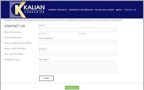 Screenshot of Contact Page kalian.com - Contact Us — Kalian Companies - captured Oct. 15, 2018
