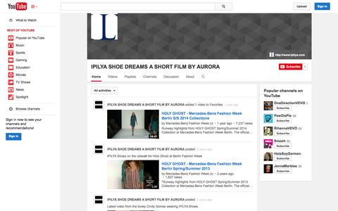 Screenshot of YouTube Page youtube.com - IPILYA SHOE DREAMS A SHORT FILM BY AURORA  - YouTube - captured Oct. 23, 2014
