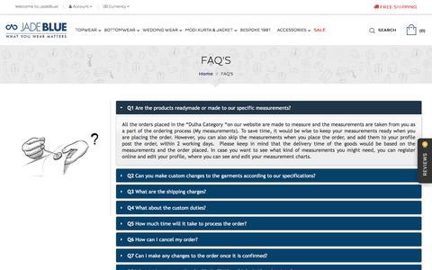 Screenshot of FAQ Page jadeblue.com - Online Shopping For Men | Shop Online | Shop Online For Men - captured Aug. 28, 2016