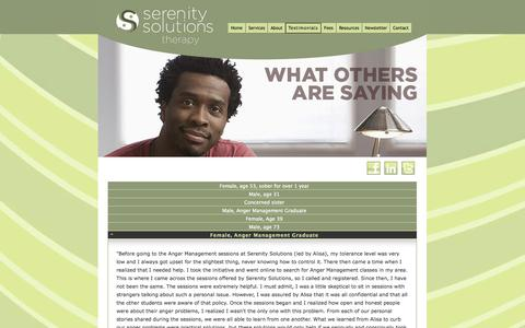 Screenshot of Testimonials Page serenitysolutionstherapy.com - Testimonials for Serenity Solutions Therapy in Philadelphia, PA - captured Oct. 7, 2014