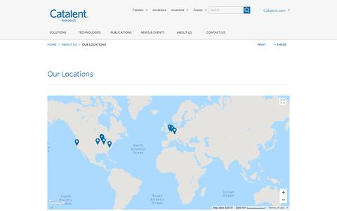 Screenshot of Locations Page catalent.com - Locations - captured July 21, 2018