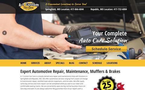 Screenshot of Home Page a-1customautorepair.com - Welcome To A-1 Custom Car Care - captured Sept. 29, 2017