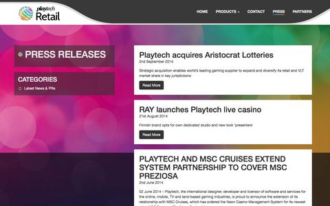 Screenshot of Press Page playtechretail.com - Press Releases - Playtech Retail - captured Oct. 29, 2014