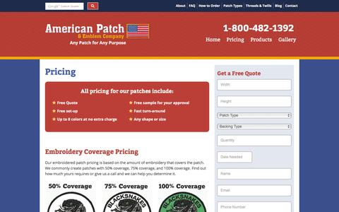 Screenshot of Pricing Page americanpatch.com - Embroidered Patches Pricing - American Patch - captured March 10, 2016