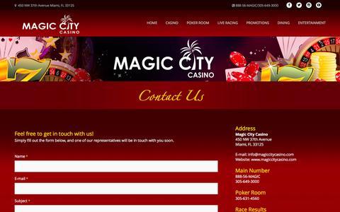 Screenshot of Contact Page magiccitycasino.com - Magic City Casino - Contact Us - captured Jan. 28, 2016