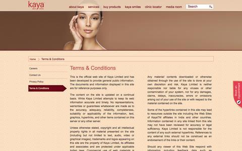 Screenshot of Terms Page kayaclinic.com - Kaya Term Condition | Kaya Skin Clinic - captured Oct. 27, 2014