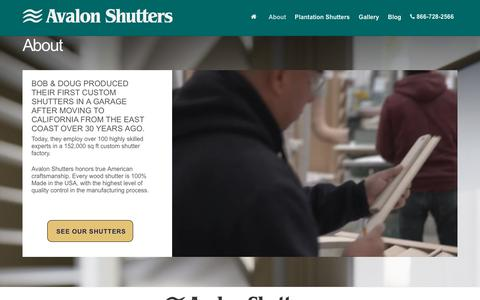 Screenshot of About Page avalonshutters.com - About Custom Shutters from Avalon Shutters - Handcrafted custom plantation shutters since 1986. - Made in the USA. - captured July 31, 2018