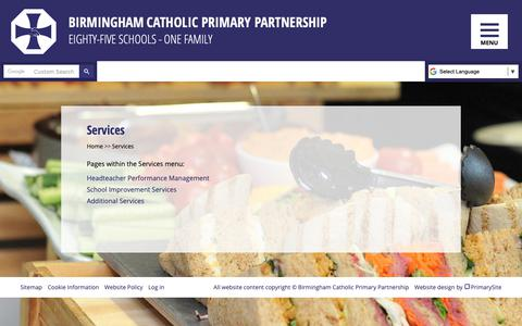 Screenshot of Services Page bcpp.org.uk - Services | Birmingham Catholic Primary Partnership - captured Oct. 27, 2018
