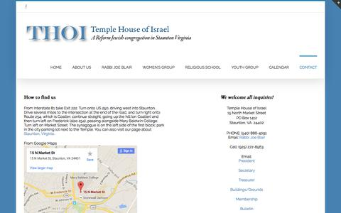 Screenshot of Contact Page Maps & Directions Page thoi.org - THOI   –  CONTACT - captured May 30, 2016