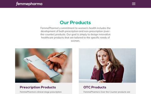 Screenshot of Products Page femmepharma.com - Products Overview - Improving Women's Health - Femme Pharma - captured Oct. 10, 2018