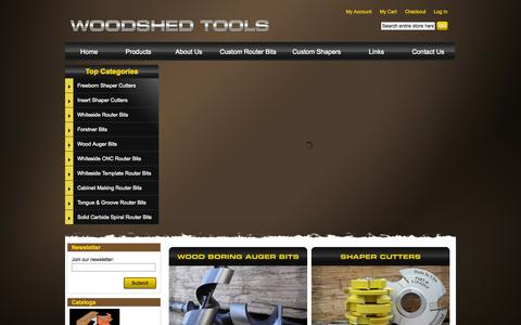 Screenshot of Home Page router-bits-shaper-cutters.com - Whiteside Router Bits, Freeborn Shaper Cutters, & Forstner Bits - WoodshedTools.com - captured Oct. 6, 2014