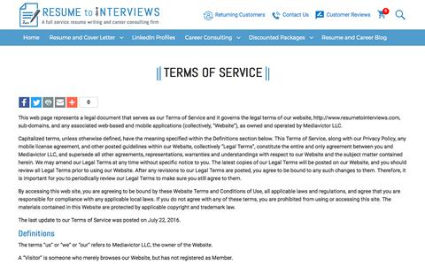 Screenshot of Terms Page resumetointerviews.com - Terms of Service - Resume to Interviews - captured July 20, 2017