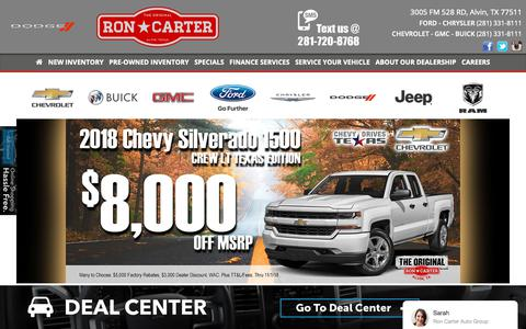 Screenshot of Home Page roncarter.com - Ron Carter Auto Group - captured Oct. 18, 2018
