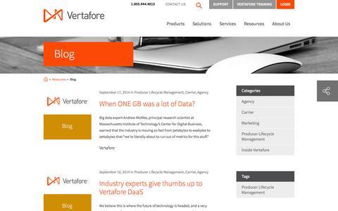 Screenshot of Blog vertafore.com - Vertafore Blog - Insurance Software blog for Agencies, Carriers, and MGAs | Vertafore - captured Sept. 19, 2014