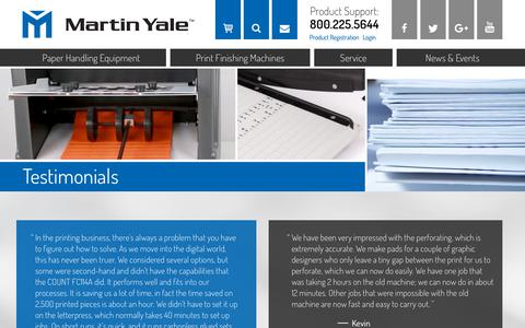 Screenshot of Testimonials Page martinyale.com - Testimonials and Reviews for Martin Yale Industries - captured Sept. 24, 2018