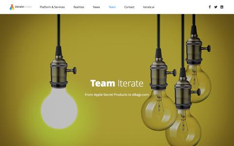Screenshot of Team Page iteratestudio.com - Iterate Studio | Team of entrepreneurs building an AI based Innovation Platform and providing Innovation Services - captured July 3, 2016