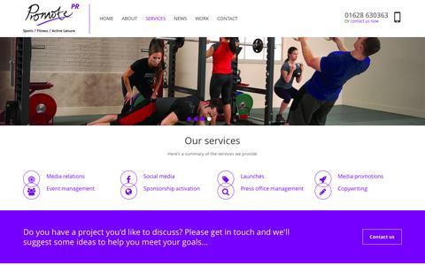 Screenshot of Services Page promotepr.com - Our Services - Promote PR - captured July 18, 2016