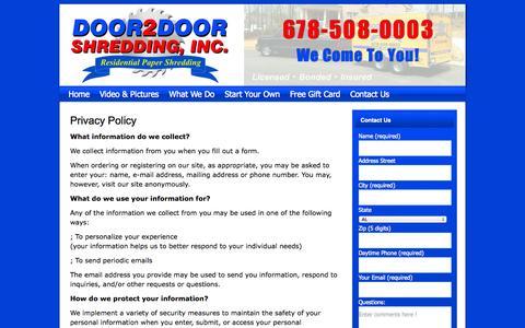 Screenshot of Privacy Page door2doorshredding.com - Privacy Policy | Door 2 Door Shredding - captured Oct. 31, 2014