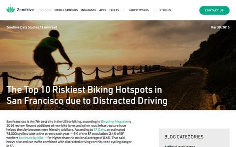 Screenshot of Blog zendrive.com - The Top 10 Riskiest Biking Hotspots in San Francisco due to Distracted Driving - Zendrive - captured Oct. 29, 2019