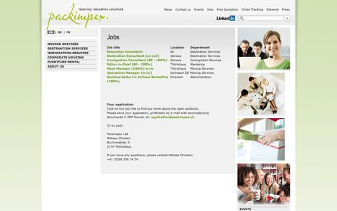 Screenshot of Jobs Page packimpex.ch - Jobs- Packimpex Ltd. - captured Nov. 1, 2014