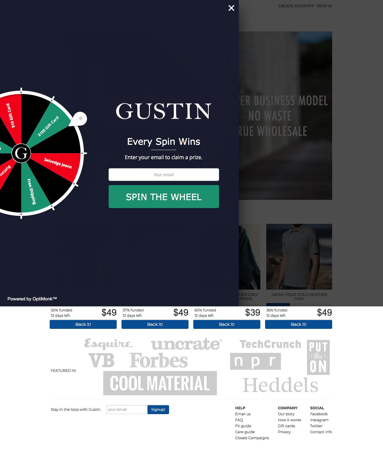 Screenshot of weargustin.com - Gustin | Premium Menswear - Jeans, Shirts and Accessories - captured May 26, 2018