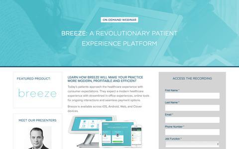 Screenshot of Landing Page carecloud.com - CareCloud Webinars | Breeze: A Revolutionary Patient Experience Platform - captured Feb. 6, 2019