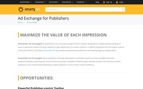 Screenshot of smartyads.com - Ad Exchange for Publishers & App Developers— SmartyAds - captured May 31, 2017