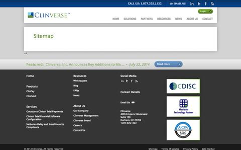 Screenshot of Site Map Page clinverse.com - Sitemap | Clinverse - captured Sept. 13, 2014