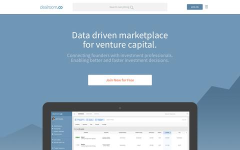 Screenshot of Home Page dealroom.co - Dealroom.co � Europe's go-to website to discover new tech companies and connect with the right investors. - captured Nov. 1, 2015