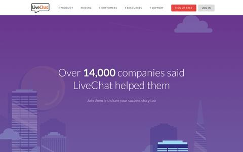 Screenshot of Case Studies Page livechatinc.com - Customers | LiveChat - captured May 12, 2016