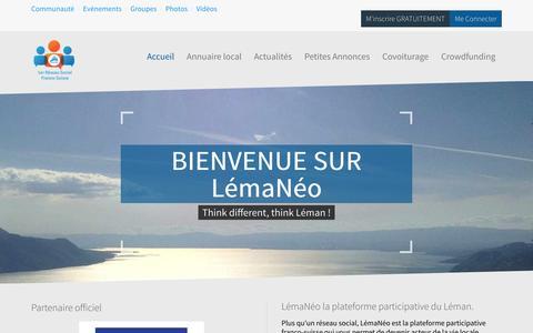 Screenshot of Home Page lemaneo.com - LémaNéo, 1er réseau social Franco-Suisse. - captured Feb. 2, 2016