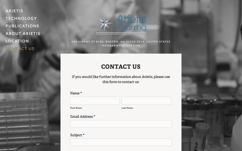 Screenshot of Contact Page arietis.org - Contact Us — Arietis - captured Oct. 4, 2014
