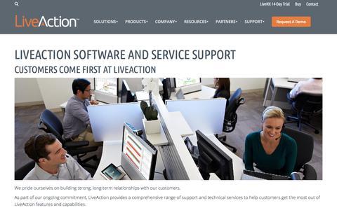 Screenshot of Support Page liveaction.com - LiveAction Support Customers Come First at LiveAction - captured Nov. 17, 2017