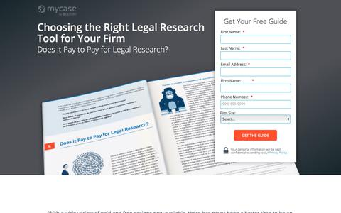 Screenshot of Landing Page mycase.com - Choosing the Right Legal Research Tool for Your Firm :: MyCase Legal Resources - captured Oct. 24, 2017