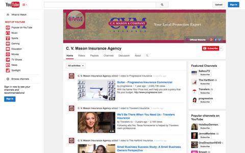 Screenshot of YouTube Page youtube.com - C. V. Mason Insurance Agency  - YouTube - captured Oct. 22, 2014