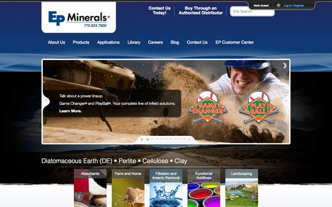 Screenshot of Home Page epminerals.com - Industrial Minerals: Diatomaceous Earth (DE)• Clay • Perlite • Cellulose | EP Minerals - captured Sept. 26, 2014