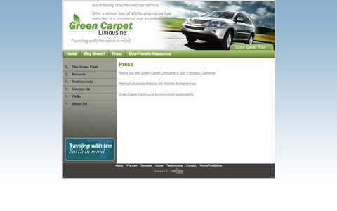 Screenshot of Press Page greencarpetlimo.com - Press - captured Sept. 30, 2018