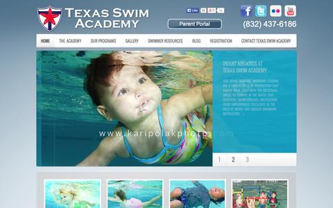 Screenshot of Home Page texasswimacademy.com - Texas Swim Academy - captured Sept. 30, 2014