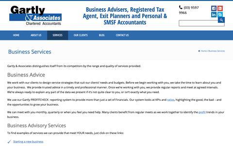 Screenshot of Services Page ggassociates.com.au - Business Services – Gartly & Associates - captured Sept. 27, 2018