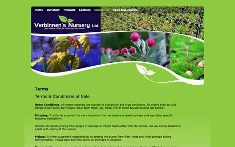 Screenshot of Terms Page verbinnens.com - Terms | Verbinnen's Nursery - captured Oct. 9, 2014