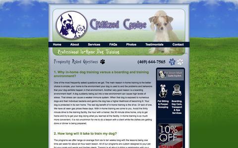 Screenshot of FAQ Page civilizedcanine.com - Dog Training FAQ | McKinney, Plano, & Frisco, TX Professional Dog Trainer | Civilized Canine - captured June 16, 2016