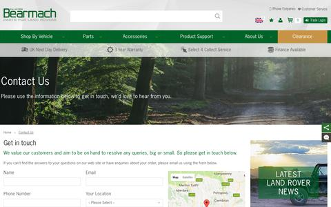 Screenshot of Contact Page bearmach.com - Contact Us - Bearmach - captured June 1, 2017