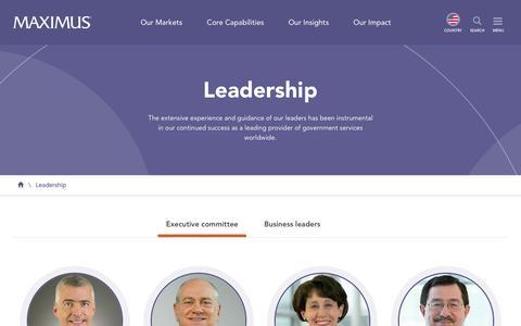 Screenshot of Team Page maximus.com - Leadership | MAXIMUS - captured April 27, 2019