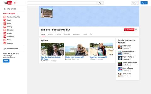Screenshot of YouTube Page youtube.com - Baz Bus - Backpacker Bus  - YouTube - captured Oct. 23, 2014