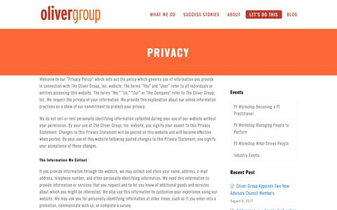 Privacy - Oliver Group