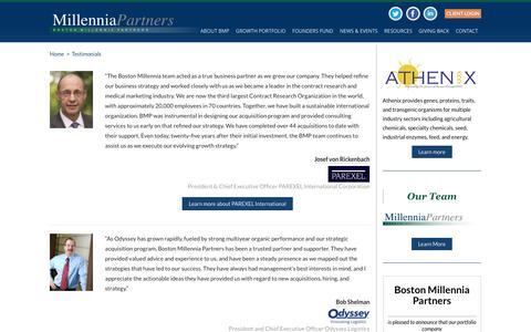 Screenshot of Testimonials Page bostonmillenniapartners.com - Testimonials | Boston Millennia Partners - captured July 30, 2016