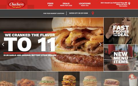 Screenshot of Home Page checkers.com - Checkers Drive-In | Burgers - Fries - Cola – Wings - captured June 30, 2017